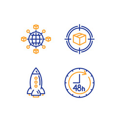 rocket logistics network and parcel tracking vector image