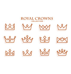 royal crowns collection in line style design vector image