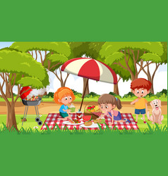 scene with many kids picnic in park vector image