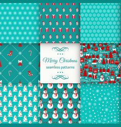 seamless pattern set christmas vector image