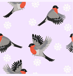 seamless pattern with bullfinches birds vector image