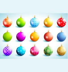 set bright glowing christmas ball vector image