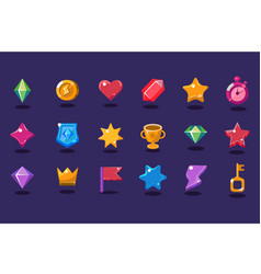 Set of items for gaming interface crystal coin vector