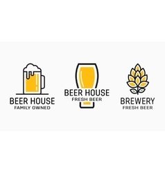 Set of vintage beer and pub logos Labels with vector image