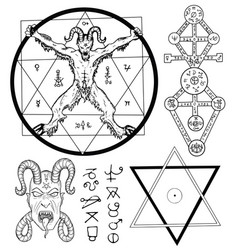Set with devil and mystic symbols vector