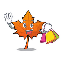 Shopping red maple leaf character cartoon vector