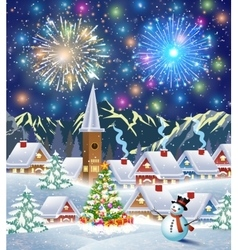 snowy village landscape vector image