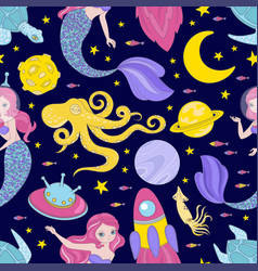 Space cloth space mermaid princess seamless vector