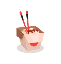 takeaway chinese food noodle with boiled egg and vector image