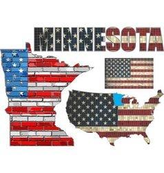 USA state of Minnesota on a brick wall vector image
