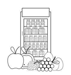 Vending machine food black and white vector