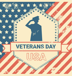 Veterans day poster with us military soldier vector