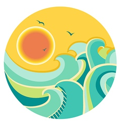 Vintage color seascape with sun on round symbol vector