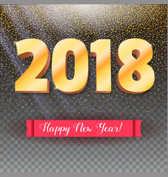 volumetric numbers from gold happy new year 2018 vector image