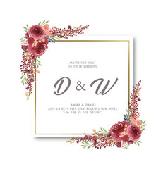 Watercolor florals with text frame border lush vector
