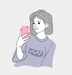woman is taking a selfie to dress up in her vacati vector image