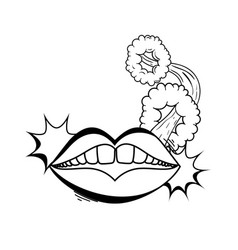 woman mouth pop art style vector image