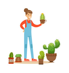 Woman planting succulents hobby or profession vector