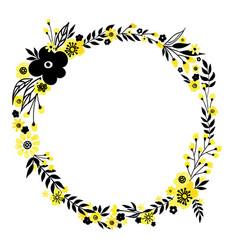 yellow flower wreath vector image