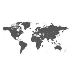 blank grey political world map isolated on white vector image