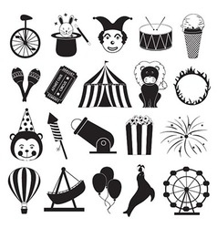 Circus and Amusement Park Icons Set vector image vector image