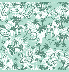 cute fishes and palms with leaves background vector image vector image