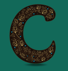 letter c with golden floral decor vector image vector image