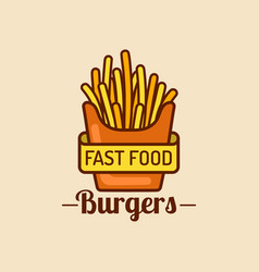 vintage fast food logo retro fry potatoes vector image vector image