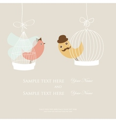 Wedding invitation or bridal shower card with two vector