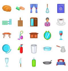 boarding house icons set cartoon style vector image