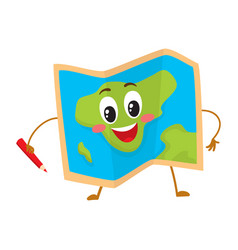 folding geographical map funny character with a vector image vector image