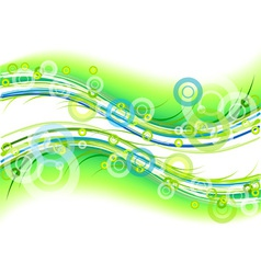 green background with circles and lines vector image vector image