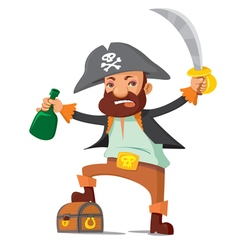 Pirate with chest vector image