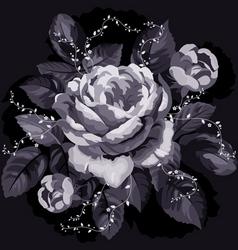 vintage monochrome rose with leaves on black backg vector image vector image