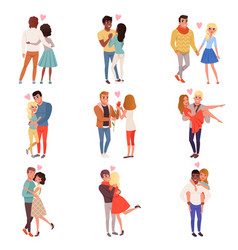 young men and women characters in love hugging set vector image