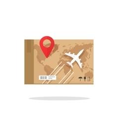 Air freight transportation plane cargo box vector