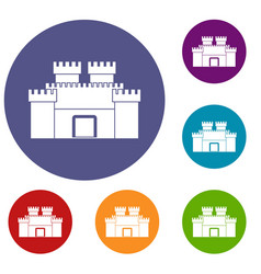 Ancient fortress icons set vector