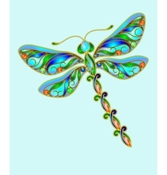Decorative dragonfly made of precious stones vector image