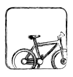 monochrome sketch with bicycle in square frame vector image