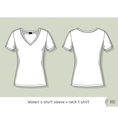 Women short sleeve v-neck t-shirt template for vector