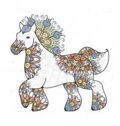 Antistress linear page with horse zentangle vector