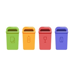 Containers for recycling waste sorting vector image vector image
