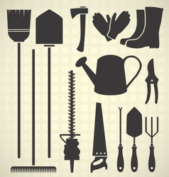 Gardening Tool Silhouette Collection vector image vector image