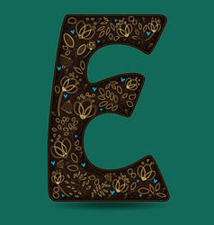 letter e with golden floral decor vector image