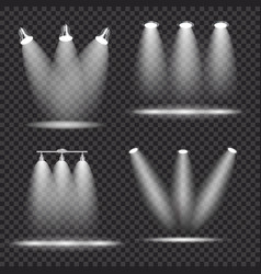 set of realistic bright projectors lighting lamp vector image