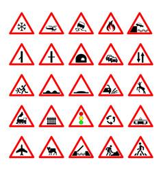 set road hazard warning signs road signs warn vector image vector image