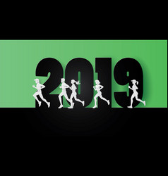 2019 happy new year with runners vector image