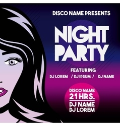 Advertising with girl icon Night Party and Disco vector image