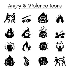 Angry violence icon set vector