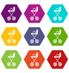 baby carriage yellow icons set 9 vector image